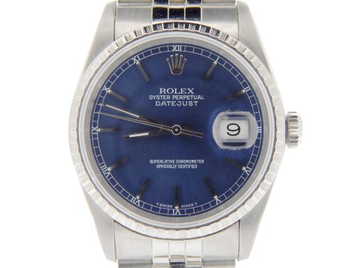 Rolex Stainless Steel Datejust 16220 Blue -1