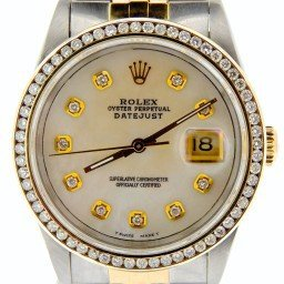 Mens Rolex Two-Tone 18K/SS Datejust White MOP Diamond 16233