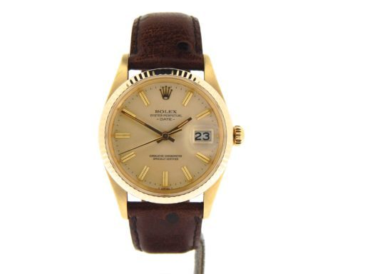 Rolex 14K Yellow Gold Date 15037 Champagne -6