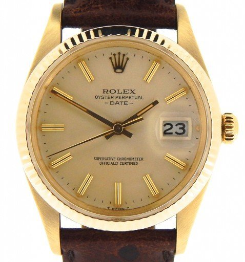 Rolex 14K Yellow Gold Date 15037 Champagne -1