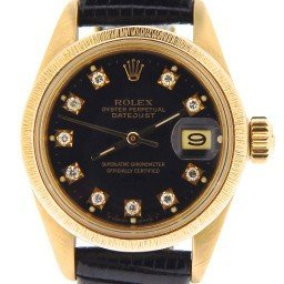 Ladies Rolex 18K Yellow Gold Datejust President Black Diamond 6927 (SKU 6520535NBLKMT)
