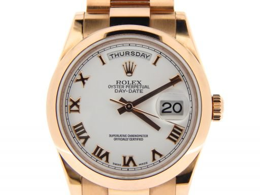 Rolex 18K Rose Gold Day-Date President 118205 White Roman-1