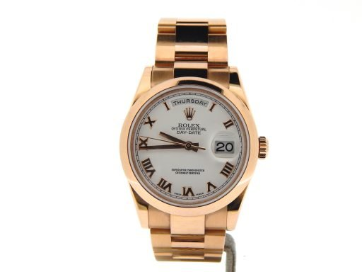 Rolex 18K Rose Gold Day-Date President 118205 White Roman-7