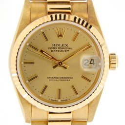 Mid Size Rolex 18K Yellow Gold Datejust President Champagne  68278 (SKU S995326NMT)