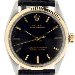 Mens Rolex Two-Tone 14K/SS Oyster Perpetual Black  1005 (SKU 1564592NBLKNNCMT)