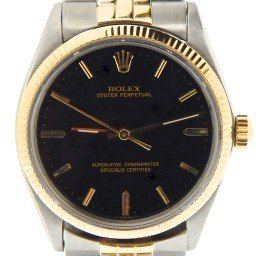 Mens Rolex Two-Tone 14K/SS Oyster Perpetual Black  1005 (SKU 1564592NNCMT)