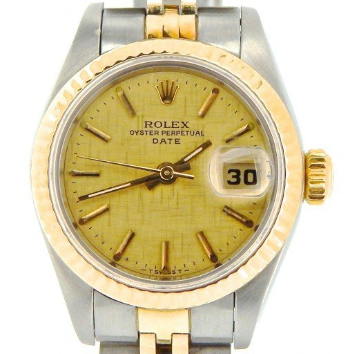 Rolex Two-Tone Date 69173 Gold Linen -1