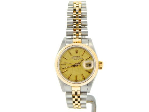Rolex Two-Tone Date 69173 Gold Linen -6