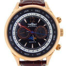 Mens Balmer Swiss Phantom II Multi-Function Rose Goldtone Leather Watch (SKU BSPIIRGLN)