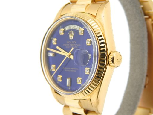 Rolex 18K Yellow Gold Day-Date President 1803 Blue Diamond-5