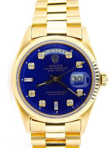 Rolex 18K Yellow Gold Day-Date President 1803 Blue Diamond-1