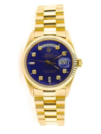 Rolex 18K Yellow Gold Day-Date President 1803 Blue Diamond-7
