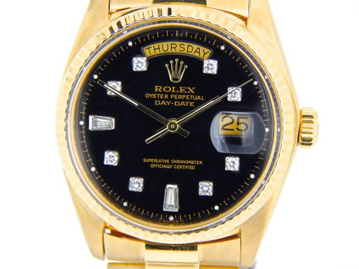 Rolex 18K Yellow Gold Day-Date President 1803 Black Diamond-1