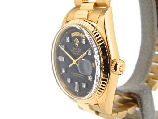Rolex 18K Yellow Gold Day-Date President 1803 Black Diamond-9