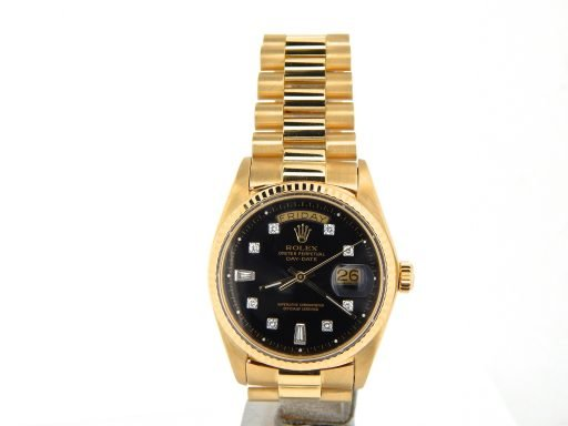 Rolex 18K Yellow Gold Day-Date President 1803 Black Diamond-8