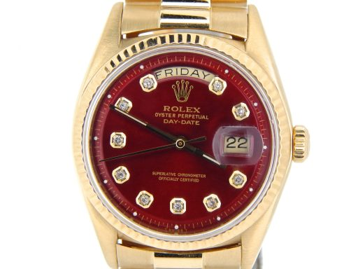 Rolex 18K Yellow Gold Day-Date President 1803 Red Diamond-1