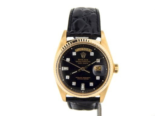 Rolex 18K Yellow Gold Day-Date President 1803 Black Diamond-7