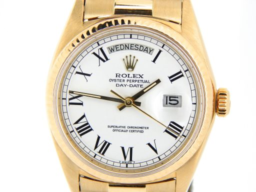 Rolex 18K Yellow Gold Day-Date President 1803 White Roman-1