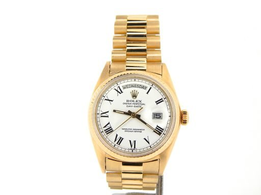 Rolex 18K Yellow Gold Day-Date President 1803 White Roman-7