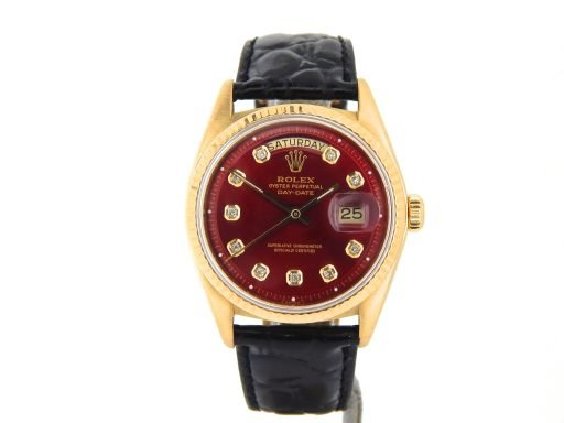 Rolex 18K Yellow Gold Day-Date President 1803 Red Diamond-9