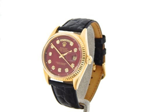 Rolex 18K Yellow Gold Day-Date President 1803 Red Diamond-8