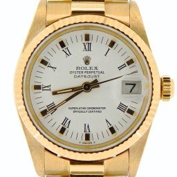 Pre Owned Mid-Size Rolex Yellow Gold Datejust President White Roman 6827 (SKU 7334276NM)