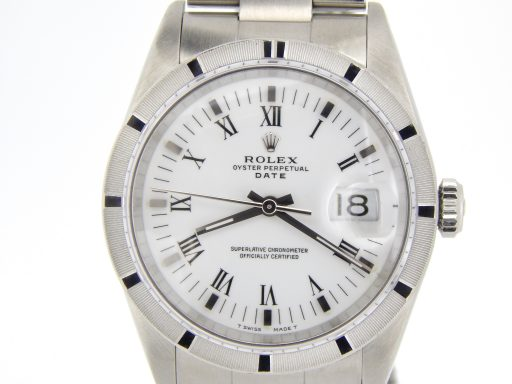 Rolex Stainless Steel Date 15010 White Roman-1