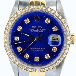Mens Rolex Two-Tone 18K/SS Datejust Blue Diamond 16233 (SKU L429456NBCMT)