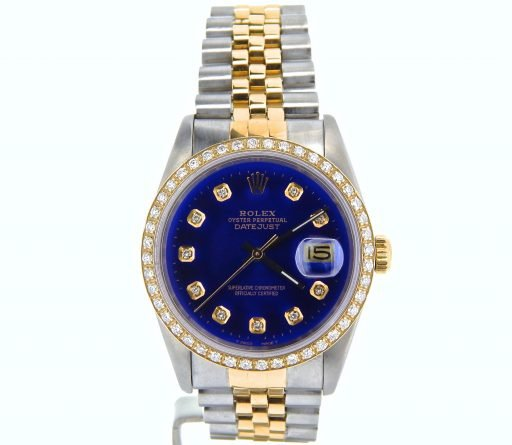 Rolex Two-Tone Datejust 16233 Blue Diamond-8