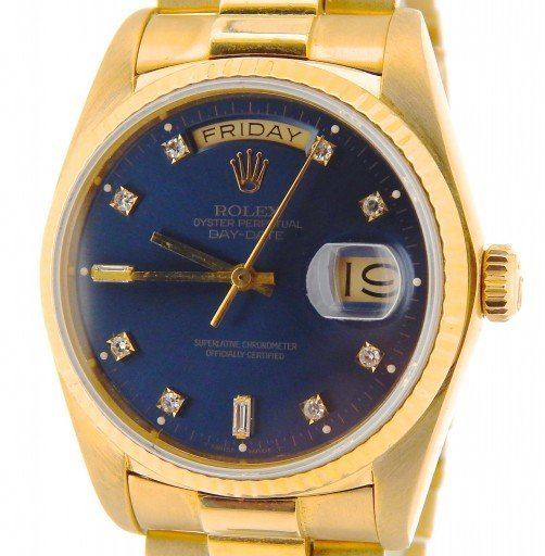 Rolex 18K Yellow Gold Day-Date President 18038 Blue Diamond-1