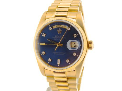 Rolex 18K Yellow Gold Day-Date President 18038 Blue Diamond-7