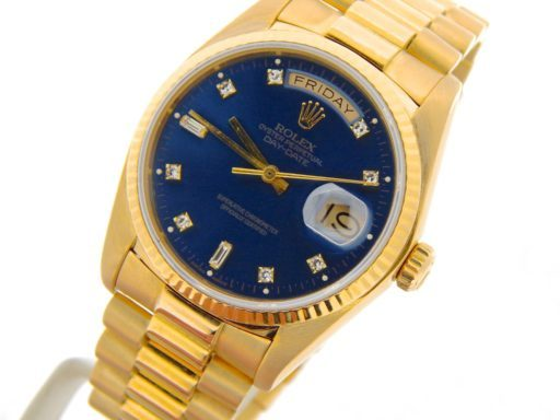 Rolex 18K Yellow Gold Day-Date President 18038 Blue Diamond-6