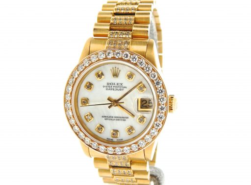 Rolex Yellow Gold Datejust President Diamond 68278 White-5