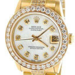 Mid Size Rolex 18K Yellow Gold Datejust President Full Diamond White  68278