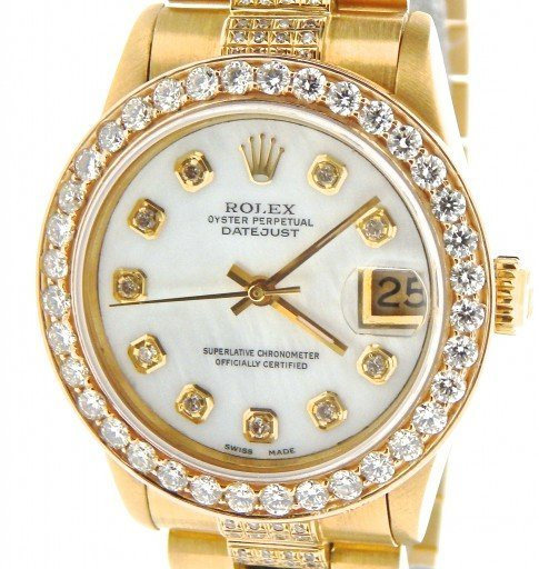 Rolex Yellow Gold Datejust President Diamond 68278 White-1