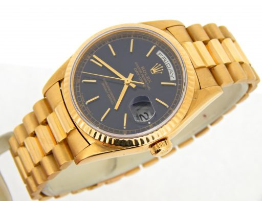 Rolex 18K Yellow Gold Day-Date President 18238 Black -6