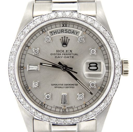 Rolex 18K White Gold Day-Date President 18039 Silver Diamond-1