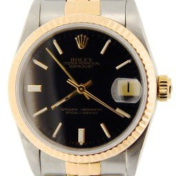 Mid Size Rolex Two-Tone 18K/SS Datejust Black 68273 (SKU 8587098NMT)