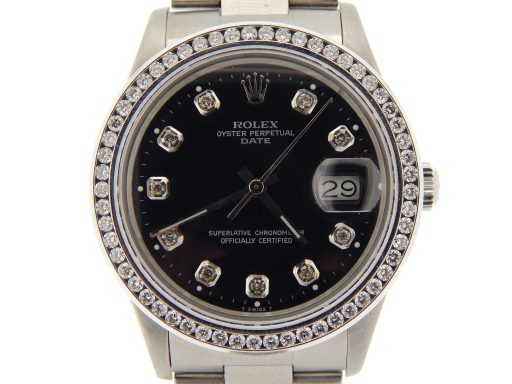 Rolex Stainless Steel Date 15000 Black Diamond-1