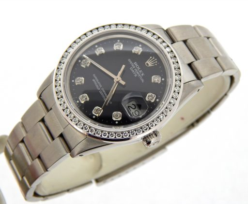 Rolex Stainless Steel Date 15000 Black Diamond-7