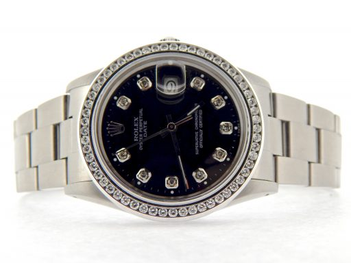Rolex Stainless Steel Date 15000 Black Diamond-6