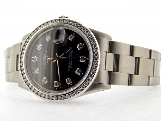 Rolex Stainless Steel Date 15000 Black Diamond-8