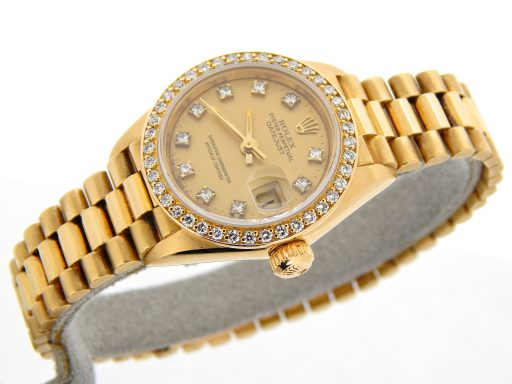 Rolex Yellow Gold Datejust President Crown Collection Diamond 69138 Champagne-8