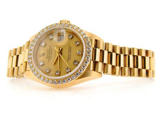 Rolex Yellow Gold Datejust President Crown Collection Diamond 69138 Champagne-7