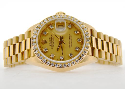 Rolex Yellow Gold Datejust President Crown Collection Diamond 69138 Champagne-6