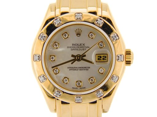 Rolex Yellow Gold Datejust Pearlmaster Diamond 69318 White-1