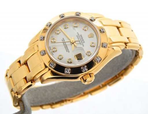 Rolex Yellow Gold Datejust Pearlmaster Diamond 69318 White-8