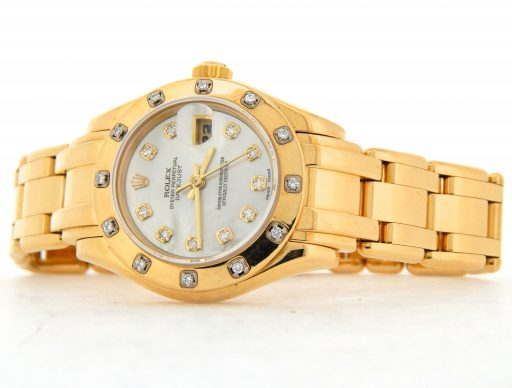 Rolex Yellow Gold Datejust Pearlmaster Diamond 69318 White-7
