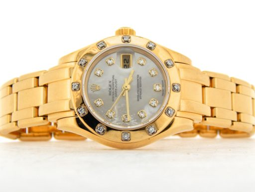 Rolex Yellow Gold Datejust Pearlmaster Diamond 69318 White-6