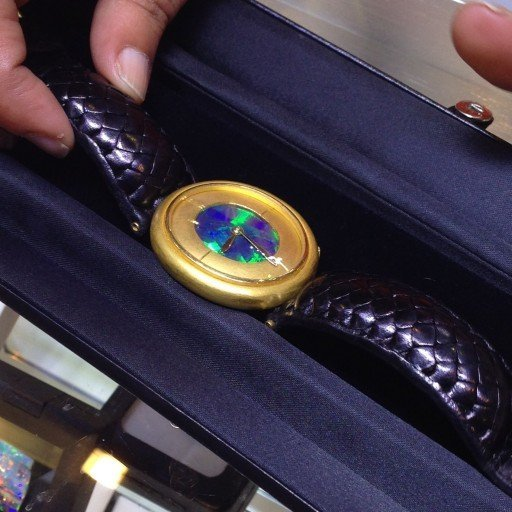 Custom One of a Kind - 24K Gold, Solid Black Opal Dial